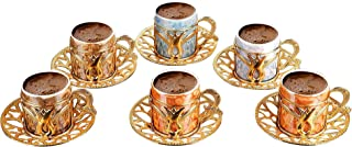 Premium Porcelain Turkish Coffee Cups Set of 6 and Saucers - 3 oz.- Gold Espresso Serving Cup Set, Greek Coffee, Demitasse...
