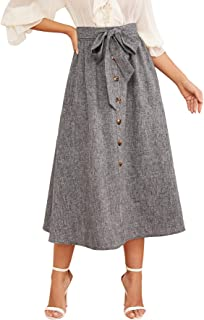 SOLY HUX Women's Colorblock Button Front High Waist Skirt with Pockets