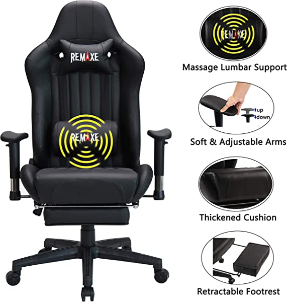 Large Size Computer Gaming Chair Ergomonic Racing Chair With Retractable Footrest Execultive PU Leather Headrest Lumbar Massager Cushion Ergonomic Swivel PC Chair For Home Black