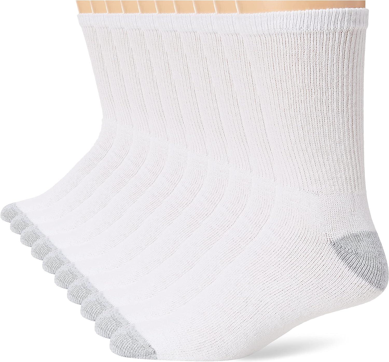 Hanes Men's 6-Pack Cushion Crew Socks (12-14 / Shoe: 13-15)