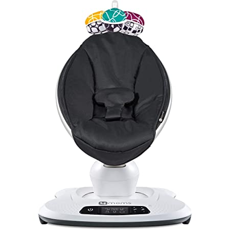 4moms mamaRoo 4 Baby Swing, Bluetooth Baby Rocker with 5 Unique Motions, Smooth, Nylon Fabric, Black Classic
