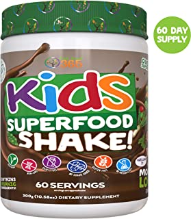 Kids Superfood Shake Mocha Greens Powder by Feel Great 365 (30 Servings), 100% Non-GMO, Made with Real Fruits & Vegetables, Multivitamin, Vegan Blend. Helps Build Immunity and Big Brains.