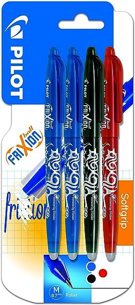 Pilot Spain Frixion Ball - Bolígrafo borrable, 4 unidades, multicolor: Amazon.es: Oficina y papelería