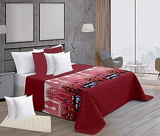 ForenTex Colchas Reversible Estampadas Lleva Funda 50x50 cm con Relleno Cojines Mullido, Londres Rojo, Pack Cama 90, 3
