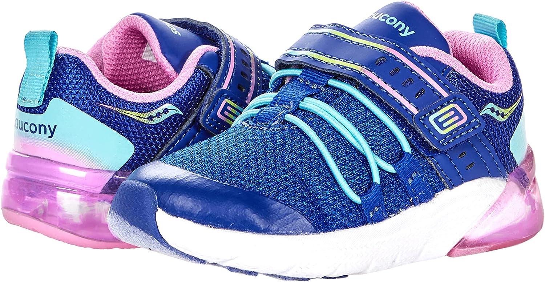 Saucony Flash Glow 2.0 JR Running Shoe, Navy/Pink Multi, 8 US Unisex Little Kid