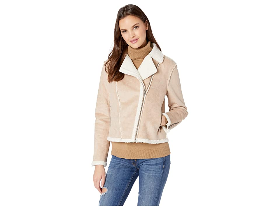 Cupcakes and Cashmere Burntel Faux Suede Moto Jacket (Sand) Women
