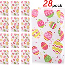 28 Pieces Easter Treat Bag, Paper Boutique Easter Eggs Print Gift Bags Easter Eggs Candy Cookie Goodie Bags for Holiday Easter Party Favor Decoration Supplies, 8.3 x 4.7 x 3.1 Inch