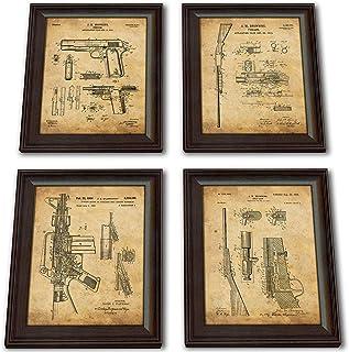 4 pc Framed Modern Gun Patent Set - 1911, M16, Shotgun, Bolt Gun