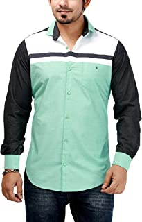 Rapphael Men's Cotton Shirts Full Sleeve (94A,Green Color)
