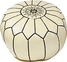 ALMADIH Lederen poef zitkussen beige met bruine siernaad geitenleer met vormvaste vulling - traditioneel handwerk - zitzak...