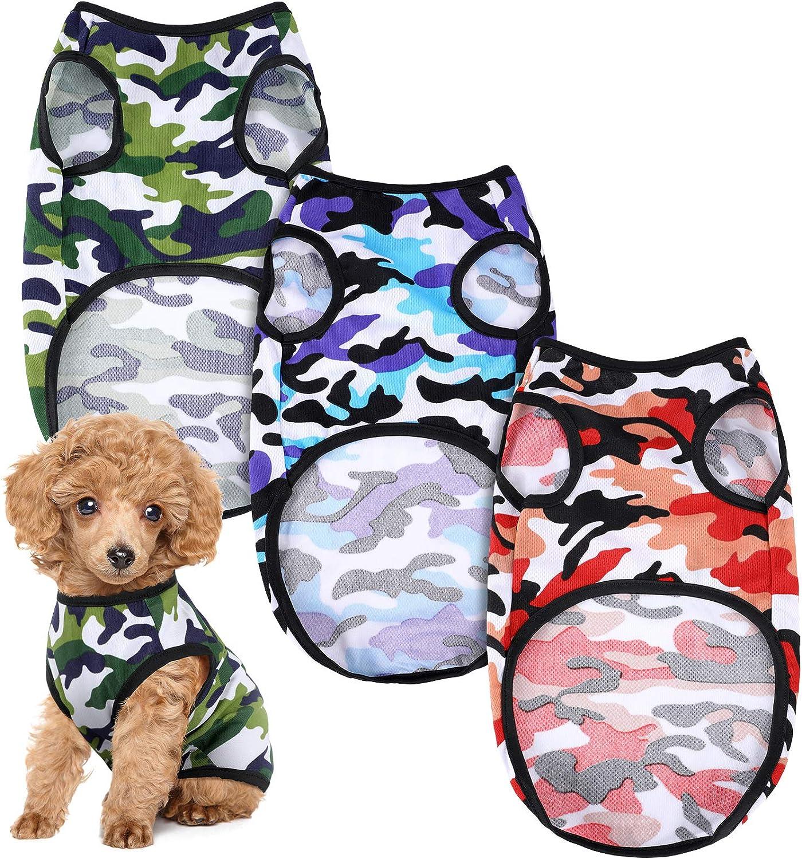 3 Pieces Dog Camouflage Print Bargain sale shopping Vest Puppy T Kitten Pet Shirt