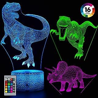 Balhvit 3D Dinosaur Night Light for Kids, 3 Pattern & 16 Colors Change Dinosaur Light, 3D LED Illusion Lamp with Remote Control, Best Christmas Holiday Gift for Boys & Girls Kids' Bedroom Livingroom