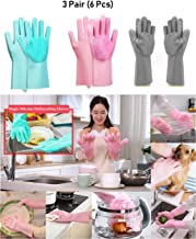 Adtala Magic Dishwashing Cleaning Sponge Gloves Reusable Silicone Brush Scrubber Gloves Heat Resistant for Dishwashing Kitchen Bathroom Cleaning Pet Hair Care Car Washing (3 Pair (6 Pcs))