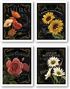 Ramini Brands Botanical Paris Flowers Vintage Wall Decor Artwork - Set of 4 8 x 10 Unframed Prints - Great Gift for Housewarming, Home Office and Bedroom Art - Perfect for World Travelers