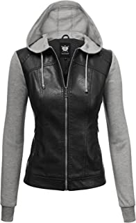 Lock and Love Women's Hooded Faux Leather Moto Biker Jacket (XS~2XL)