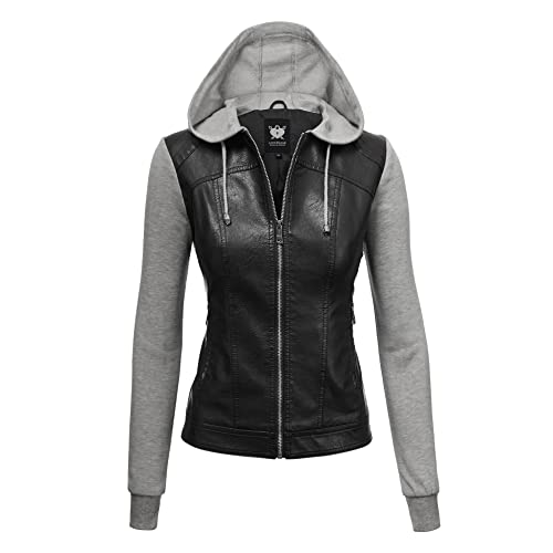 0f360f3b54b Lock and Love LL Womens Hooded Faux Leather Jacket