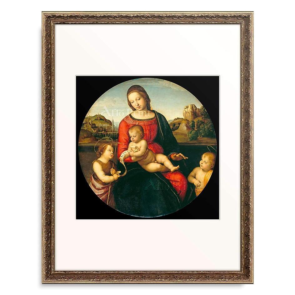 レンダリング回路蓮ラファエロ?サンティ Raffaello Santi (Raffaello Sanzio) 「Madonna Terranuova (Maria mit dem Kind und dem kleinen Johannes d. T.), 1505.」 額装アート作品