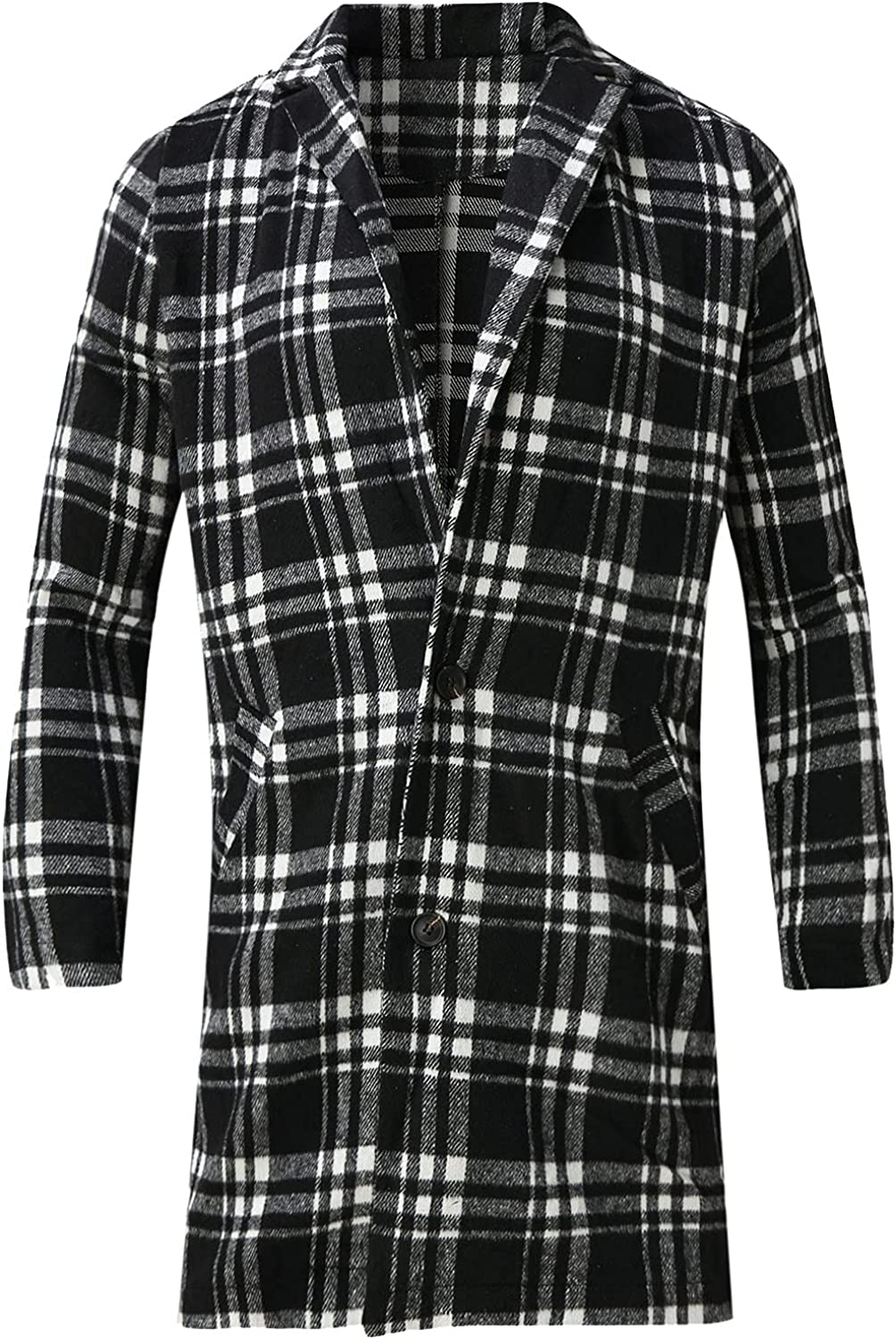 Huangse Men's Casual Notched Collar Plaid Single Breasted Wool Blend Formal Trench Top Coat Autumn Winter Long Peacoat