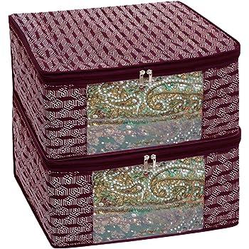 Homestrap Premium 3 Layer Cotton Multi Purpose Storage/Clothes/Saree Cover Bag (Maroon   Pack of 2)