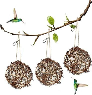 winemana Set of 3 Globe Hummingbird Nesters, Full of Bird Nesting Materials, Design for Bird Lovers, Idea Bird Gifts in Outdo