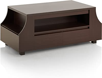 """ioHOMES Frederick Contemporary 2-Drawer Coffee Table with Multiple Shelves and Magazine Holder, 47"""", Walnut"""