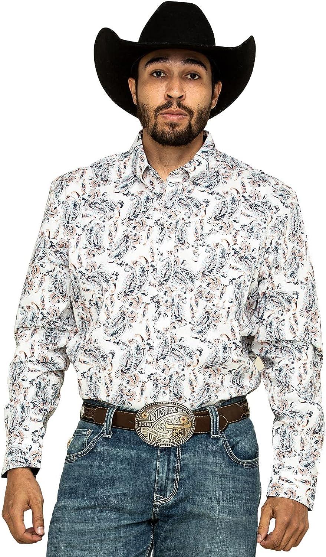 Cody James Men's Core Rodeo Drive Large Paisley Print Long Sleeve Western Shirt White