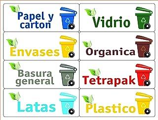 Pegatinas de Reciclaje para Papelera 5 Unidades Color Verde CABILOCK