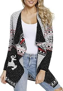 Women Christmas Reindeer Geometric Open Front Long Sleeve Cardigan