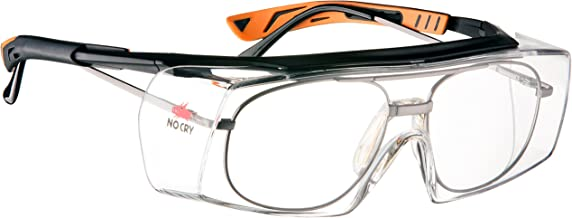 NoCry Over-Glasses Safety Glasses - with Clear Anti-Scratch Wraparound Lenses, Adjustable Arms, Side Shields, UV400 Protection, ANSI Z87 & OSHA Certified, Black & Orange Frames