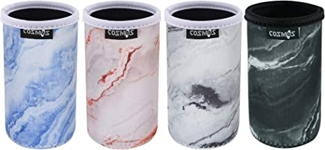 CM Soft Neoprene Slim Can Sleeves Insulators Slim Can Covers for 8.4 Fluid Ounce Energy Drink & Beer Cans, Marble Pattern, 4 Pcs