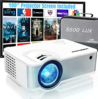 """Wevivi Mini Outdoor Movie Projector, HD1080P Projector Supported 100"""" Projector Screen, 5500Lumens 240"""" Display, Outdoor P..."""