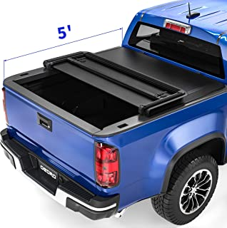 oEdRo Upgraded Soft Tri-fold Truck Bed Tonneau Cover On Top Compatible with 2015 2016 2017 2018 2019 2020 2021 Chevy Color...