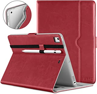 DTTO New iPad 9.7 Inch 5th/6th Generation 2018/2017 Case with Apple Pencil Holder, Premium Leather Folio Stand Cover Case for Apple iPad 9.7 inch, Also Fit iPad Pro 9.7/Air 2/Air - Red(Grey Lining)