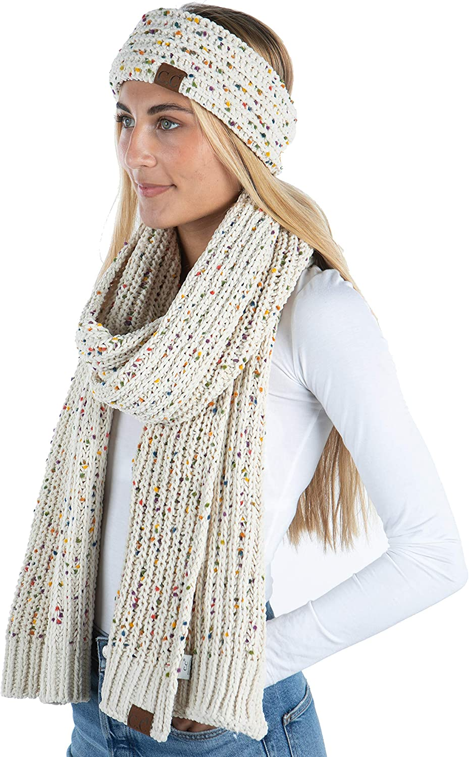 Funky Junque Cable Knit Fuzzy with Headwrap Colorado Springs Mall Lined Infin SALENEW very popular Matching