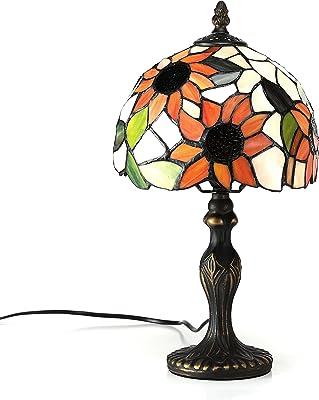 Gweat 8 Pouces Pastorale Tournesol Vitraux Tiffany Lampe De Table Chambre Lampe Lampe De Chevet Modèle A