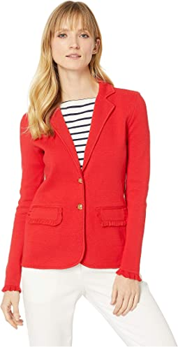 Ruffle-Trim Cotton Blazer