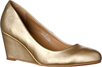 Riverberry Women's Leah Mid Heel Round Toe Wedge Pumps