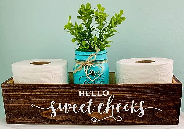 Hello Sweet Cheeks Cute Bathroom Toilet Paper Wooden Box