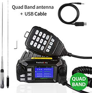 Radioddity QB25 Pro Quad Band Quad-Standby Mobile Ham Amateur Radio Transceiver Car Truck Vehicle Radio, VHF UHF 25W with Cable & CD + 50W High Gain Quad Band Antenna
