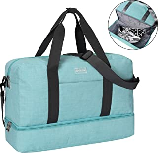 Gooteff Gym Bag with Shoes Compartment Waterproof Lightweight Nylon Bags for Men and Women Sports Outdoor Travel Handbag Blue