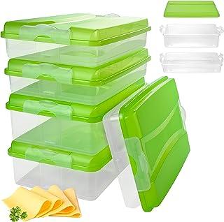 Hausfelder Lot de 5 boîtes à charcuterie empilables sans BPA pour réfrigérateur - Boîtes de conservation en plastique avec...