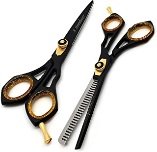 Hair Cutting Scissors Thinning Shears- Saaqaans Professional Haircut Sharp Hairdressing Scissors - Suitable for Barbers/Ha...