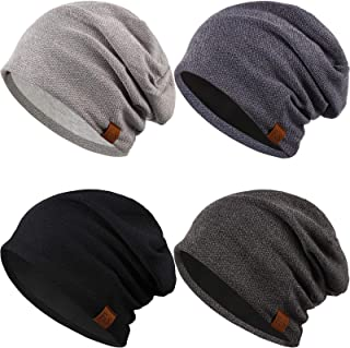 Syhood 4 Pieces Slouchy Beanie Hat Oversized Skull Cap Winter Warm Knitted Hat for Women Men Winter Accessories