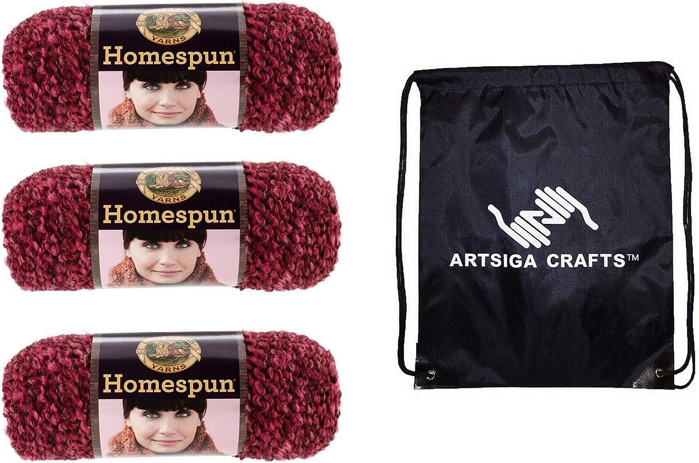Lion Max 57% Latest item OFF Brand Knitting Yarn Homespun 3-Skein Factory Claret Pack S