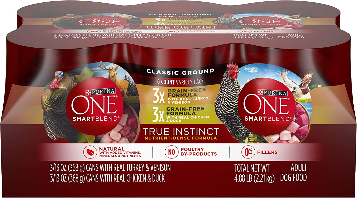 Purina ONE Grain Free, Natural Pate Wet Dog Food Variety Pack, SmartBlend True Instinct - (6) 13 oz. Cans (00017800176767)