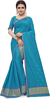 SKiran's Assamese Machine-Weaving Poly Silk Mekhela Chador Saree - Dn5003 Mekhla Sador (Firozi)