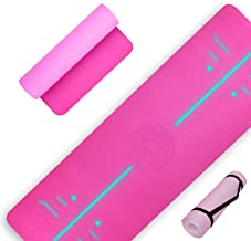 Unbeatable 8mm Thickness Yoga Mat with Alignment lines, Free Carrying Strap, Non Slip TPE surface for Women & Men for Pila...