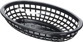 Cesta ovalada TableCraft de color negro para comida, 24x 15x 5cm, 36 unidades, de plástico, para cena, comida o presentación de patatas fritas, hamburguesas, perritos calientes, etc.