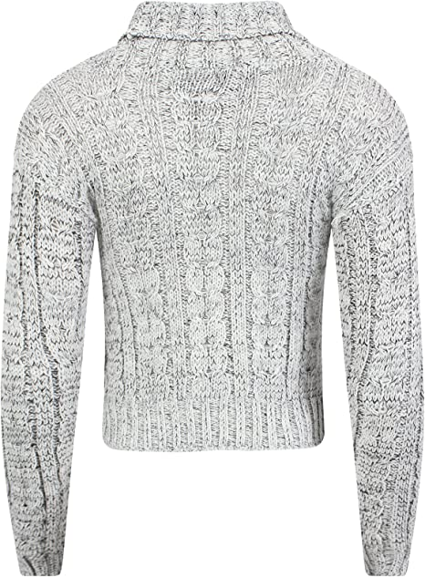 Mesdames Chaud Col Roulé Tricot Turn Up manches Chunky Pull Taille UK 8-14