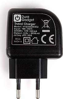 DURAGADGET Cargador con Enchufe Europeo para Cámara de acción Nilox EVO 360 / EVO 360+ / EVO 4K / EVO 4K+ / EVO MM93 / F-60 EVO - con Doble Entrada USB